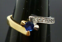18ct yellow and white gold sapphire and diamond wrap over ring - DHM T36 size H