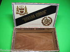 HAVANA RIBBON Vintage Antique Empty Hand Made Wooden Humidor Trimmed Cigar Box