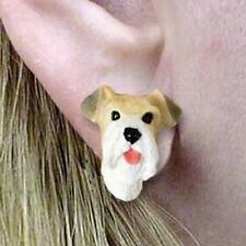 Wirehaired Fox Terrier Tiny One Dog Head Post Earrings Jewelry