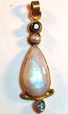 "Sterling silver vermeil pendant, moonstone & gemstones, 2 3/4"" long, 14.05 grams"