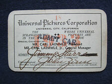 ORIGINAL 1933 UNIVERSAL STUDIO SEASON PASS for Hollywood Columnist JIMMY STARR