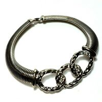 Vintage Omega Necklace Runway Gas Pipe Silver Tone Choker Thick MASSIVE Chunky