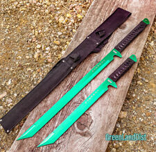 "2PC SET 26'' & 18"" Ninja Samurai Katana Swords Machete Full Tang Blade Green"