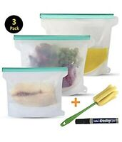 3 Pk. Reusable Silicone Food Storage Sandwich Freezer Lunch Kitchen Bag Set
