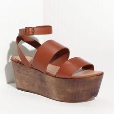 """Elizabeth and James """"BAX"""" Leather Platform Wood Wedge Brown Sandal 8 $265"""