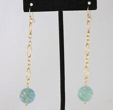 Greenwood Designs Swirl Cut Fluorite on Gold Chain Earrings 14k gf Gold