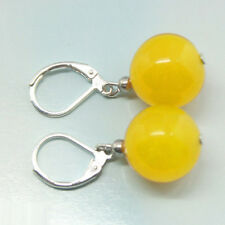 ON SALE New Fashion 10mm Yellow Jade Round Beads Silver Leverback Hook Earrings