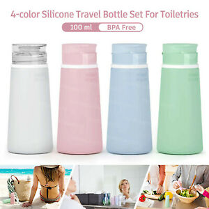 4Pcs Travel Bottles For Containers Liquid Shampoo Lotion Soap TSA Approved 100ml