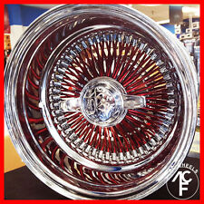 13X7 CANDY RED 100 Spokes WIRE WHEEL REV / SUPER DEEP DISH~  SALE