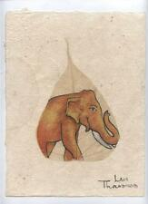Original Ink and Oil with Bodhi Leaf   Elephant    Vientiane Laos       BL25