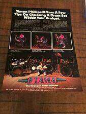 1983 Vintage 8X11 Print Ad For Tama Drums With Simon Phillips Msg Judas Priest