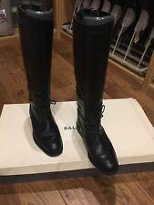 Bally Diseñador de Cuero Negro Botas De Montar Talla 35 condición Inmaculada