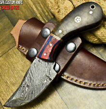 SFK CUTLERY RARE CUSTOM HANDMADE DAMASCUS ART HUNTING SKINNER KNIFE WALNUT WOOD