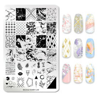 NICOLE DIARY Stamping Plate Marble Images Stainless Steel Nail Art Stencils L09