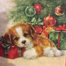 paper napkins decoupage x 2 Christmas puppy 25cm