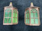 Antique Original Pair Solid Copper Slag Glass Wall Porch Lights