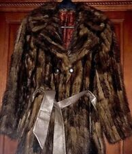 MINK fur jacket coat ranch mink Sm trench coat double breasted W/ Belt