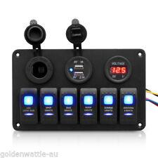 6Gang LED Schalttafel Schaltpanel Schalter Schalttaf Voltmeter Für Boot RV Auto