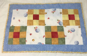 Vintage Patchwork Doll Crib Quilt, Nine Patch, Hand Made, Calico Prints, Multi