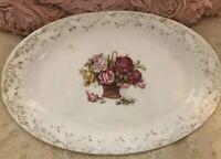 Rare Vintage 1924 Homer Laughlin Roses Basket Oval Ironstone Platter Cottage