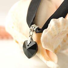 Black Vintage Velvet Choker Crystal Heart Pendant Gothic Handmade Punk Necklace