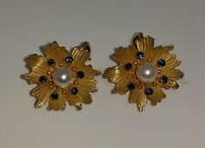 14K Gold Genuine Pearl and Sapphire French Clip Floral Earrings~ Vintage