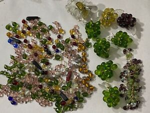Vtg Lot Chandelier Glass Colored Bead Crystal Drop Pendant Luster Prisms Grapes