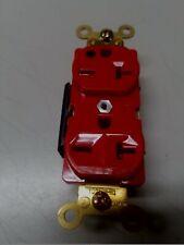 Red Hospital Grade Duplex Receptacle,  20 Amp 250 Volt.