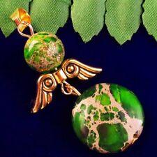 Tibetan Gold Wing Pendant Bead L33440 Cyan Sea Sediment Jasper Round Ball