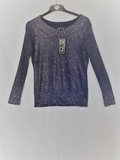 """Woman's Purple & Silver Fine Kniit Sweater 40"""""""
