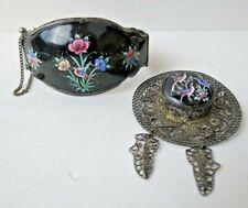 Antique Persian Enamel Wide Hinged Bangle Bracelet & Filigree Hat Dangle Brooch