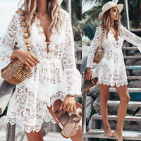 Fashion Women Bathing Suit Lace Crochet Bikini Swimwear Cover Up Beach Dress US