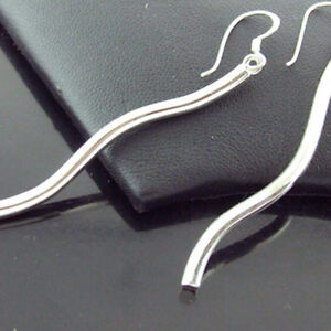 Earrings Genuine Real 925 Sterling Silver Ladies Long Drop Hook Design