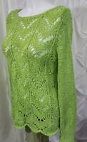 Chico's Bright Green Open Weave Sweater Cover Up Tunic Long Sleeve Nylon Size 0