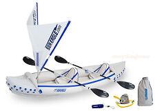 SEA EAGLE 370 QUIKSAIL KAYAK PACKAGE W/ SAIL 2 PADDLES 2 SEATS PUMP BAG & MORE!