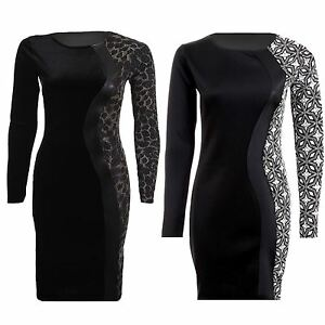Ladies Long Sleeve Velvet Lurex Tiger Floral Print Contrast Bodycon Womens Dress