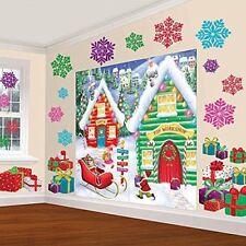 Christmas North Pole Scene Setter Wall Window Decor Santa Gift Room Xmas Party