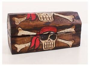 HANDMADE BLACK WOODEN PIRATE CHEST / TRINKET BOX  LARGE/ MED AND SMALL SET OF 3