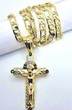 """Cadena y Cruz de oro laminado 26"""" Gold Plated Cross & Chain, Men`s crucifix red"""