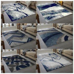 Modern Small & Large Living Room Rugs  Blue Navy Bedroom Rug Cheap Carpet Mat