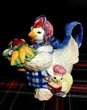 New ListingVintage Fitz & Floyd-Rare-Vegetable Bouquet Hen Chicks Teapot 1 1/4Qt.-1993 Vguc
