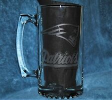 New England Patriots Beer Mug Hand Etched (NEW) 002