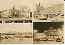 """Ansichtskarte Rostock """"HOG Bahnhofs-Hotel, Rathaus, Hafen, Lange Straße"""" - s/w"""