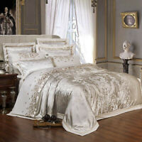 Silk Satin Jacquard Duvet Cover Bedding Set Bed Set Bed Sheet/Fitted Sheet Set