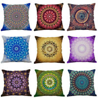 Mandala Printing Pillow Case Cotton Linen Sofa Office Cushion Cover Home Decor