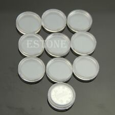Hot 10pcs 20mm Clear Round Cases Coin Storage Capsules Holder Round Plastic