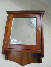 Antique mahogany wall cabinet, cupboard, bathroom medicine, bevelled mirror