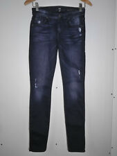 $198 7 For All Mankind the Skinny leg jeans in Faded Black with Destroy Size 25