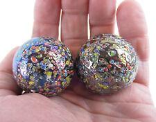 2 BOULDERS 35mm GLITTERBOMB Marbles glass ball Metallic Iridescent Confetti HUGE