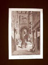 Incisione di Gustave Dorè del 1874 Puerta del Perdon Cattedrale Siviglia Spagna